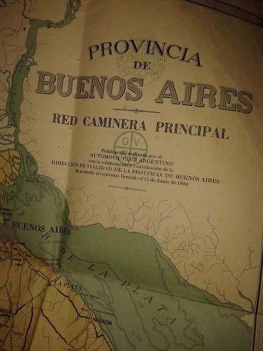 Mapa Prov Buenos Aires-la Plata- Red Caminera 1944(70x98cm)