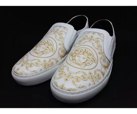 Sapatênis Slip-on, Branco Versace 100%couro