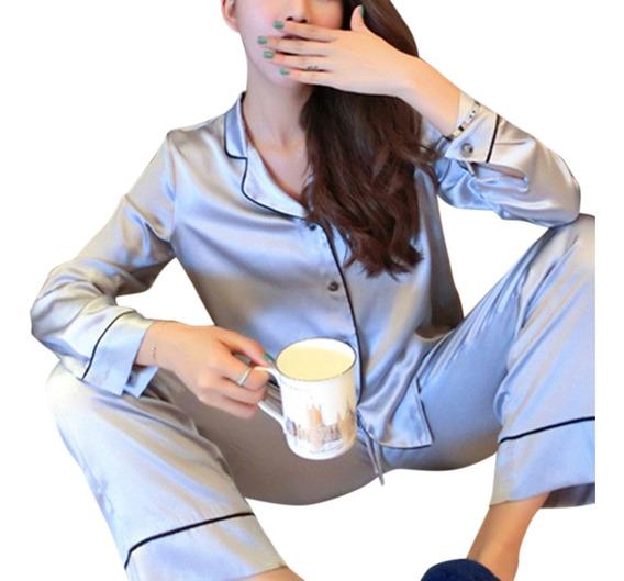 Las Mujeres Ropa De Hogar De Manga Larga Conjunto De Pijamas