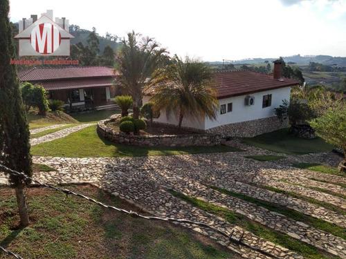 Linda Chácara Com Vista Deslumbrante, Salão De Festas, Casa Com 02 Dormitórios À Venda, 2100 M² Por R$ 600.000 - Zona Rural - Pinhalzinho/sp - Ch0537