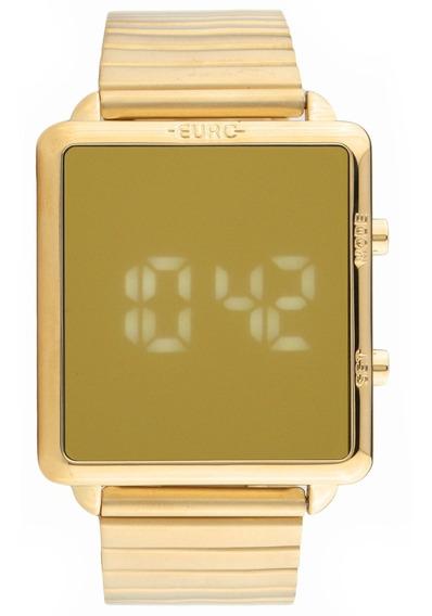 Relógio Feminino Espelhado Led Euro Eujhs31bag + Brinde