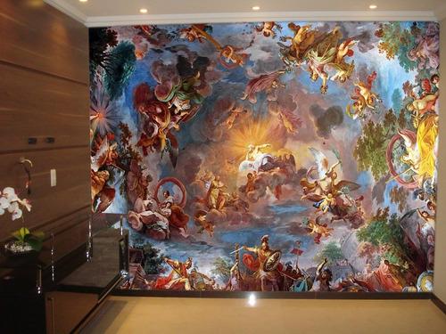 Imagem 1 de 2 de Adesivo De Parede Céu Anjos Nuvens Igreja M² Rl25