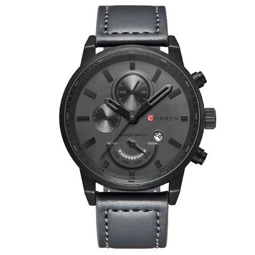 Relógio Original Masculino Curren Aço Inox Pulseira Couro