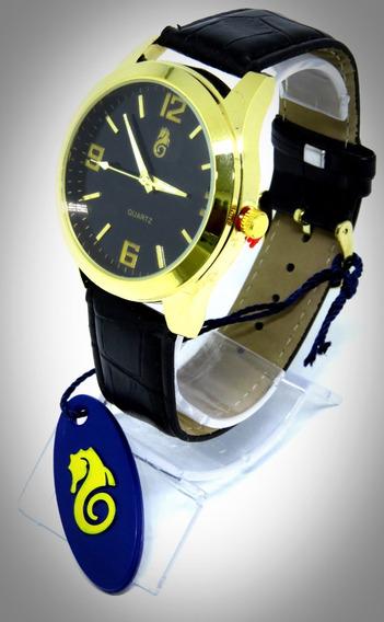 Relógio Dourado Couro Preto Marrom Atlântis Original Casual