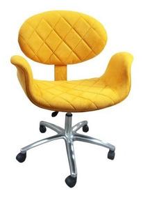 Cadeira Tulipa Tecido Suede Amarelo Detalhes Matelassê