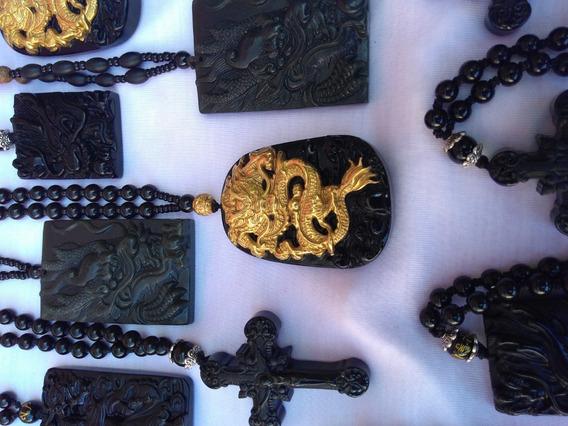 Lote Colar Obsidiana Natural Dragão, Crucifixo, Jade Natural