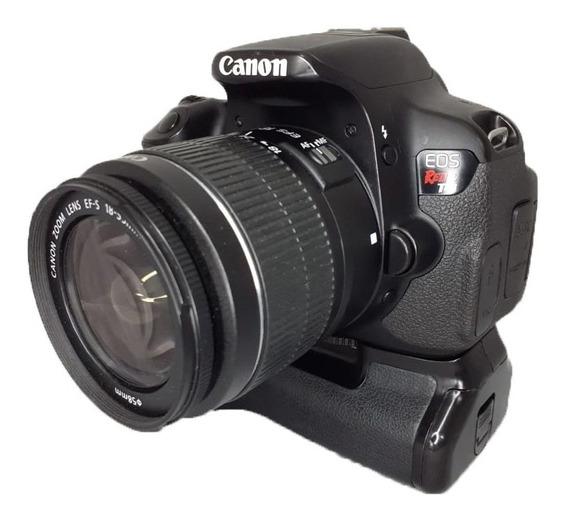 Câmera Canon T4i Seminova Impecável + Grip + Lente 18-55 Mm