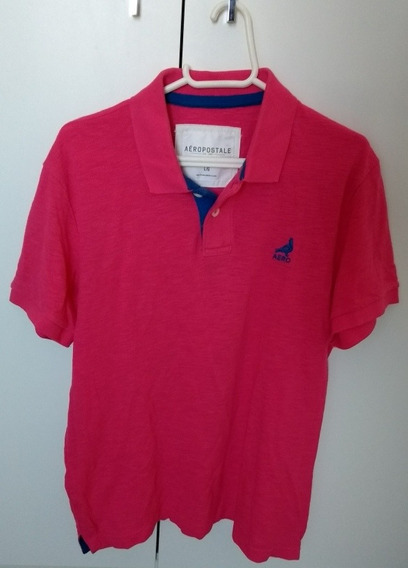 Camiseta Polo Masculina Aeropostale Pink Tam G Roupa Manga Curta