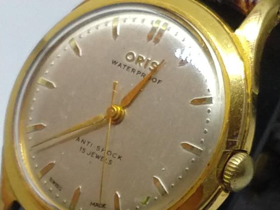 Relógio Swiss Oris Corda- Retrô Banho De Ouro