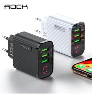 Rock Display Digital Carregador De Telefone 3 Porta Usb 3a M