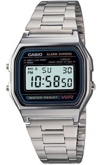 Reloj Casio Vintage Original Plata A158w-1 Acero Inoxidable