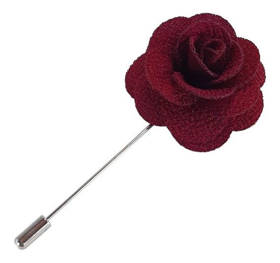 Fistol Broche De Flor Color Vino Para Solapa