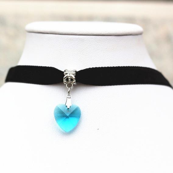 Collar Gargantilla Choker Corazón Azul Claro Regalo G-035