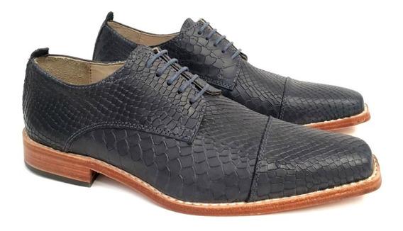 Zapato Cuero Hombre Vacuno Grabado Base De Suela Puerto Blue