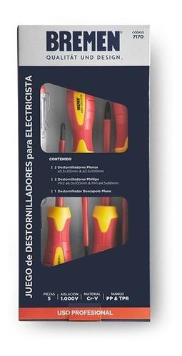 Imagen 1 de 4 de Juego Destornilladores Aislados Cod.7170 5pz 1000v Bremen
