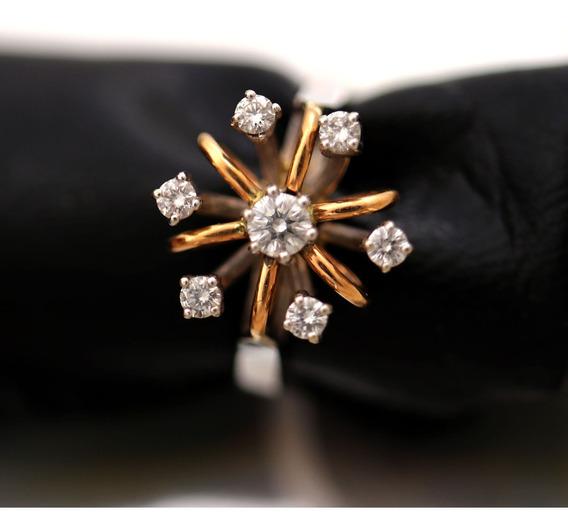 Anel Arco Ouro Rose Branco 18k Flor Diamante Delicado J22475