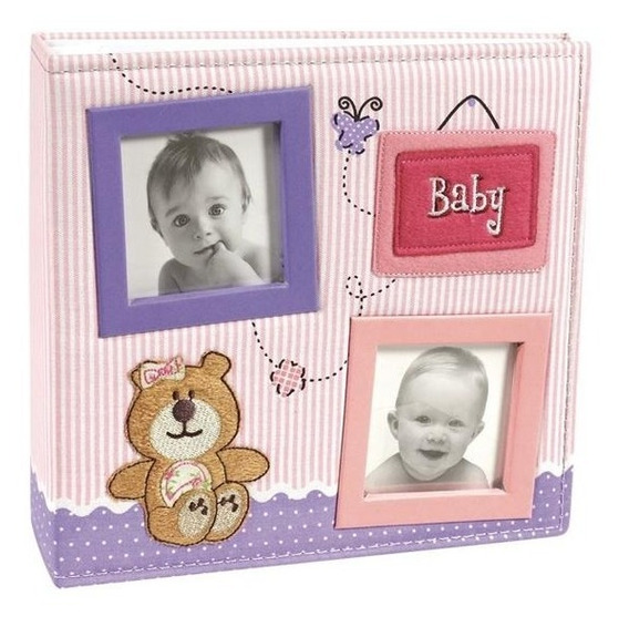 Álbum De Foto 15x21 Bebê C Diário 100 Fotos 15x21 Urso Rosa