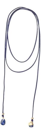 Collares Con Piedras De Gamuza Azul Marino Para Mujer