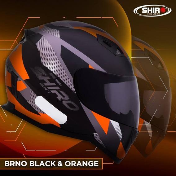 Capacete Shiro Sh 881 - Brno - Preto Fosco/laranja