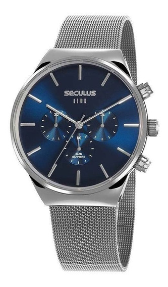 Relógio Seculus Masculino 35026g0svna1 Cronógrafo Prateado