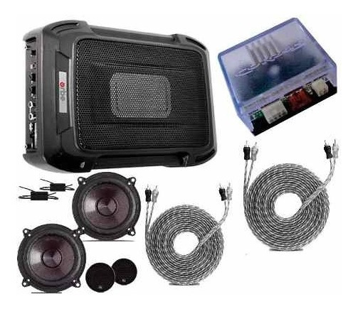 Caixa Slim + Kit 2 Vias 5 + Módulo Rca + Amplificador Cabos