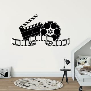 Adesivo De Parede - Set Filmagem Cinema Claquete Rolo Filme