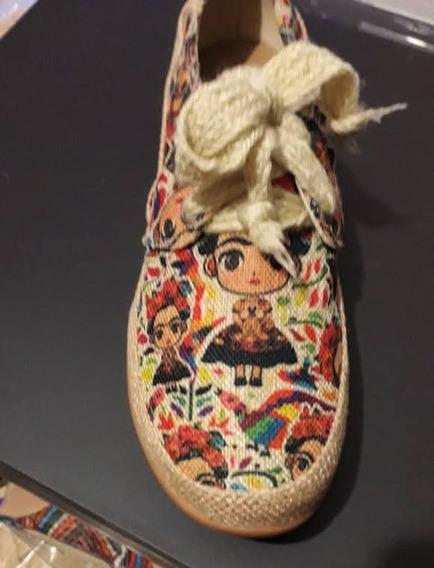 Zapato Para Dama Tipo Alpargata Con Estampado Frida Kahlo