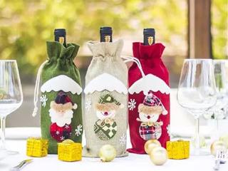 Porta Botella Funda Vino Decoración Adorno Navidad 3pzs