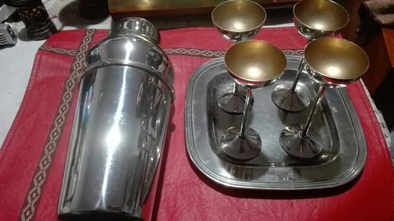 Set Coctelera 4 Copitas Y Bandeja De Acero Inoxidable