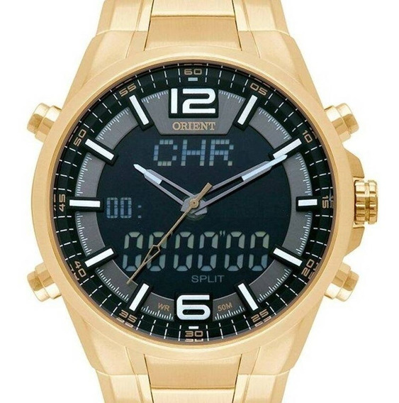 Relógio Orient Masculino Anadigi Dourado -mgssa002 P2kx