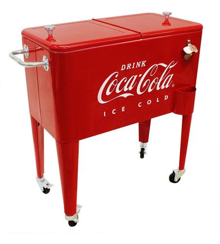 Hielera Coca Cola Con Ruedas Y Destapador Estilo Retro 57 Lt