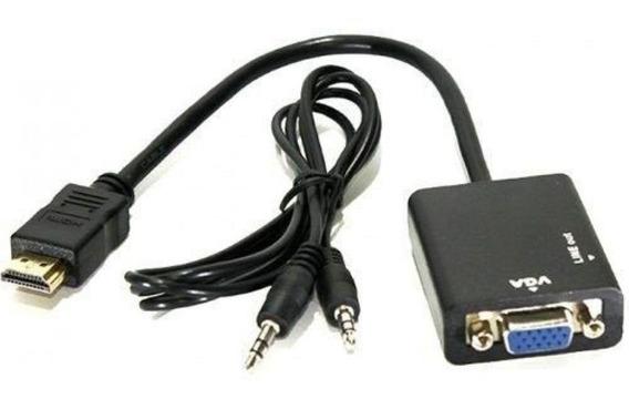 5 Cabo Adaptador Conversor Hdmi Para Vga Com Saída P2 Áudio