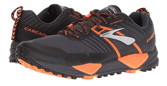 Tenis Brooks Cascadia 13 Running Caballero Gris/orange