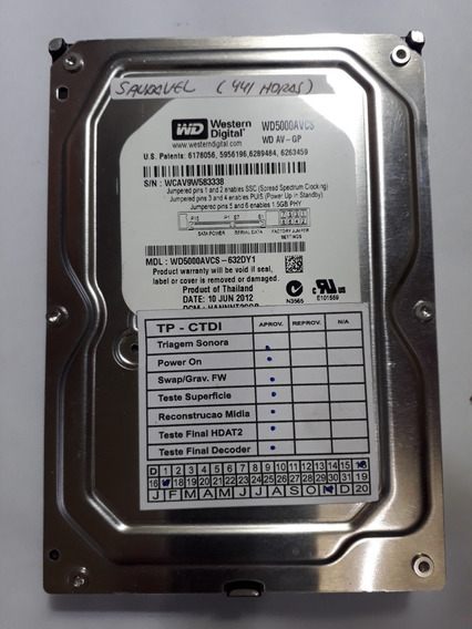 Hd Western Digital 500 Gb - Usado - Saudavel