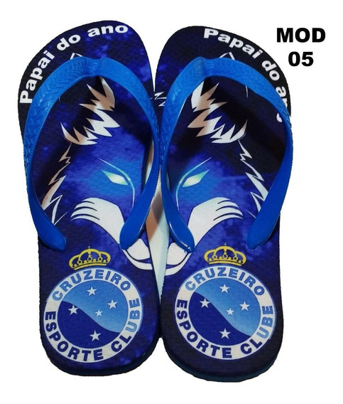Chinelo Time Cruzeiro Com Nome Personalizado Mod 05