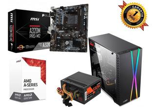Pc4 Amd Gamer A6 7480k Radeon R7 Integrada Mother Msi 4gb 1tb Gabinete Lnz Gamer F/ 550w C/ Acrilico