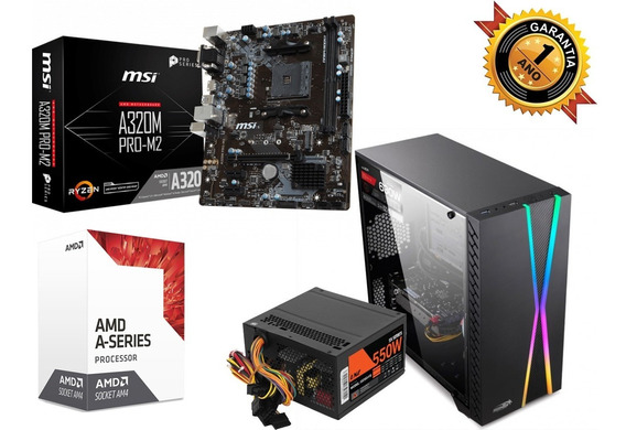 Pc4 Amd Gamer A6 7480k Radeon R7 Integrada Mother Msi 4gb 1tb Gabinete Lnz Gamer F/ 550w C/ Acrilico