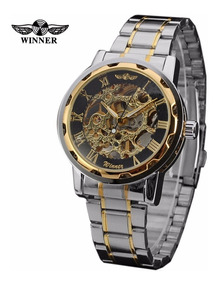 Relógio Masculino Esqueleto Cromado Preto/ Dourado Winner