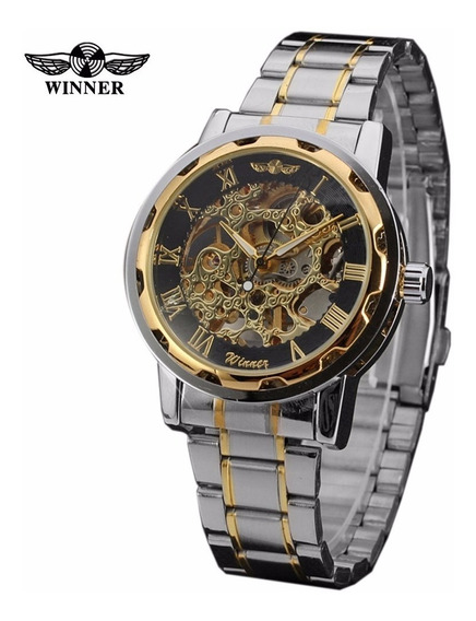 Relógio Winner Masculino Esqueleto Cromado Preto/ Dourado