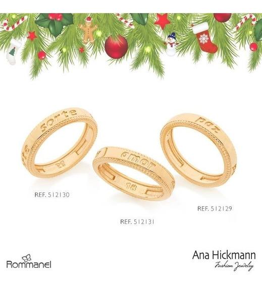 3 Aneis,sorte+amor+paz Coleção Ana Hickmann 13º Ed Rommanel