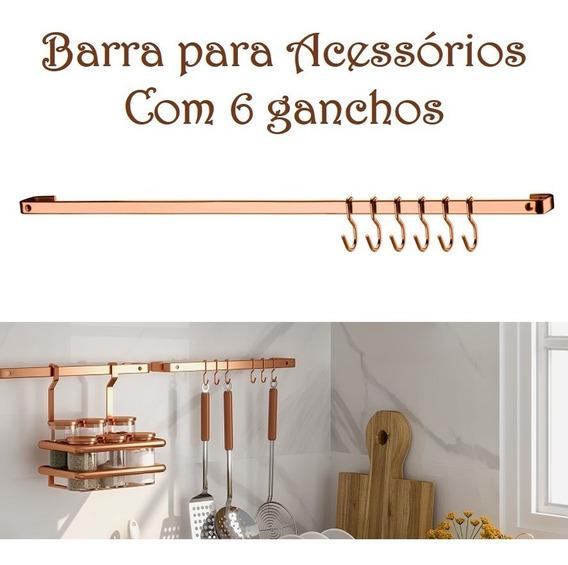Barra Piatina 45cm Acessórios Utensílios 6 Gancho Cobre Rose