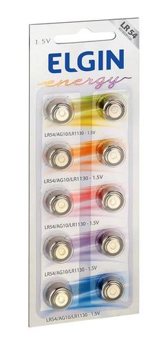 Imagem 1 de 4 de 10 Pilhas Baterias Lr1130 Lr54 Ag10 Alcalina Elgin
