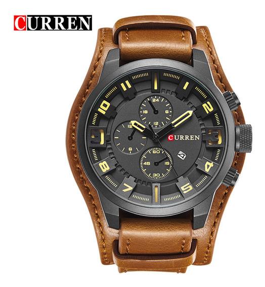 Relógio Masculino Curren 8225 Pulseira De Couro Original Analógico Luxo Social Importado Esportivo Militar