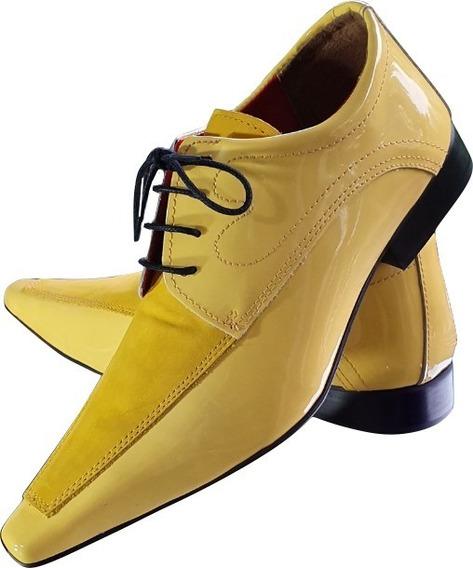 Sapato Masculino Em Couro Amarelo Verniz Ref: 785