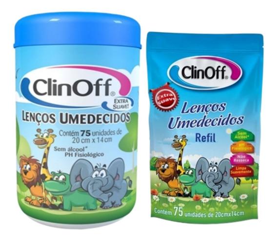 Kit Lenço Umedecido Pote Azul C/75 + Refil Clin Off