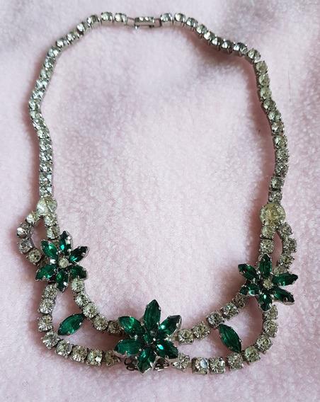 Colar National Jewelry Sales Strass Verdes E Brancos