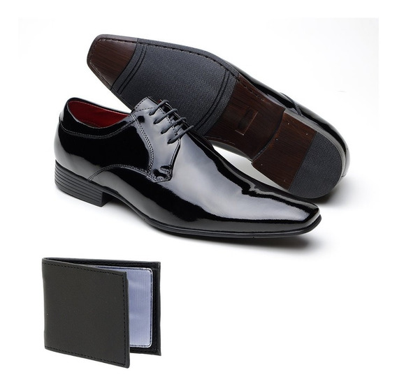 Sapato Social Salto Baixo Em Couro Carteira Brinde