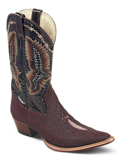 Bota Country Texana Exótica Couro Arraia E Mustang 2850