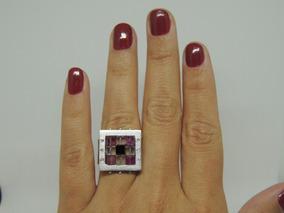 Glitter Joias - Anel Ouro Quartzo E Diamantes 14 Gramas !!!