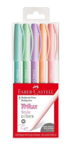 Caneta Esferográfica Trilux Style Colors Kit C/5 Cores